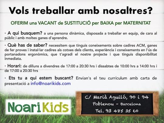 Oferta vacant sustitució baixa maternitat NK
